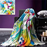 smallbeefly Youth Digital Printing Blanket Football Players a Soccer Ball Colorful Grunge Splashes Competition Sports Summer Quilt Comforter 80''x60'' Multicolor