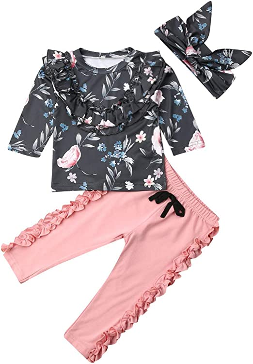 3PCS Infant Kids Baby Girl Floral Long Sleeve Top Dress Pants Clothes Outfit Set