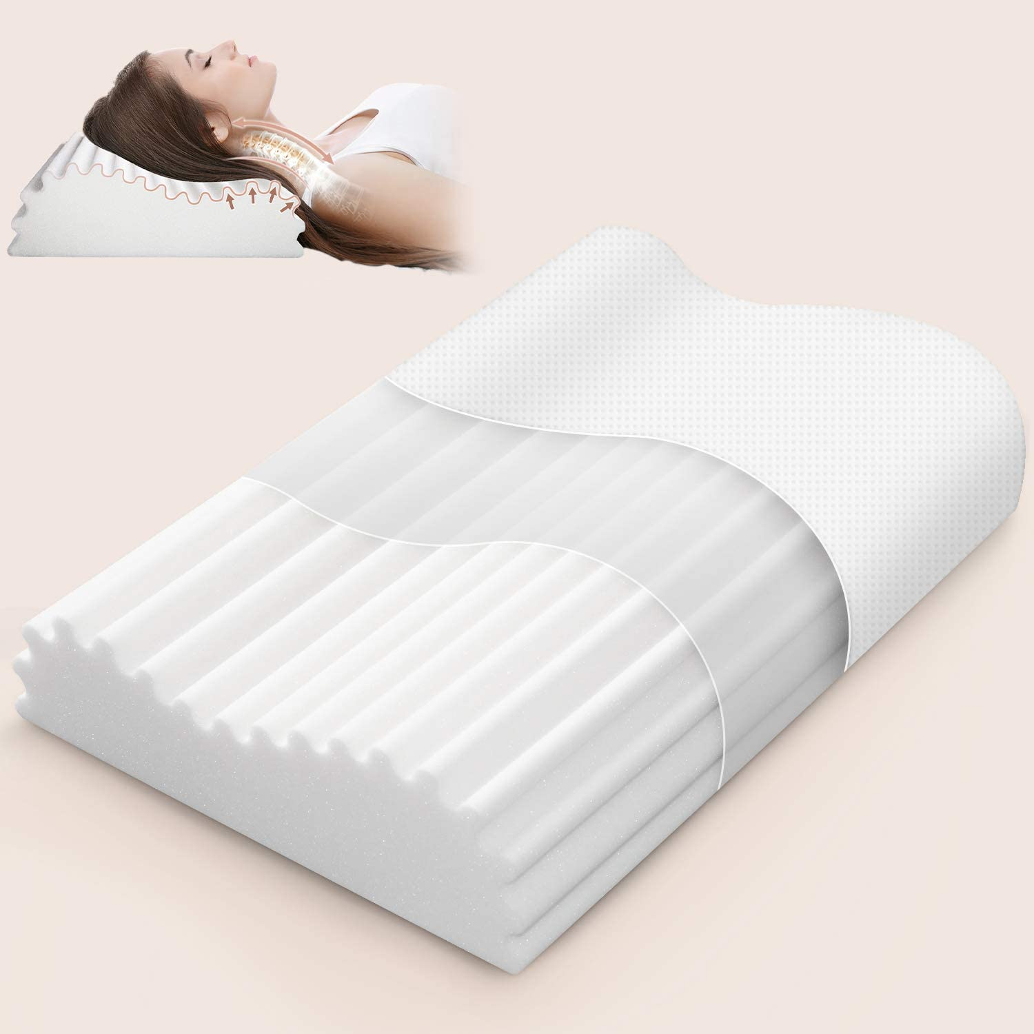 ivellow memory foam pillow for side sleeper cervical contour pillow for neck pain orthopedic neck support pillow chiropractic ergonomic pillow