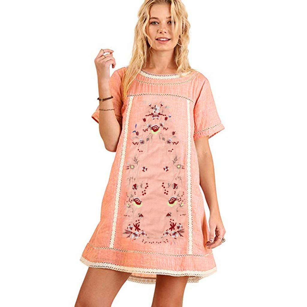 Mr.Macy Women's Bohemian Embroidered Short Sleeve Dress or Tunic