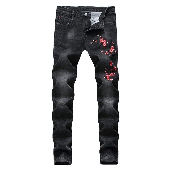 5cd9ad44f Pantalones Vaqueros De Mezclilla Bordados De Los Hombres De La Vendimia  Agujeros Rasgados Rectas Ocio Casual Slim Fit Pantalones De Mezclilla  Pitillo ...