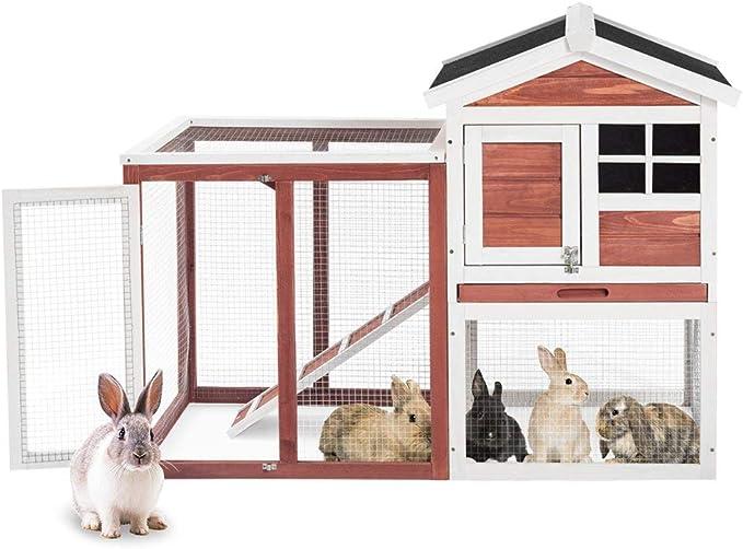 Kavai - Jaula para Conejo, Conejo, Conejo, Conejo, conejera, conejera, conejera, conejera de Conejo, con Techo de linóleo, 2 Niveles: Amazon.es: Productos para mascotas
