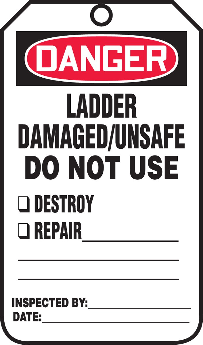 Accuform MDT234CTM PF-Cardstock SAFETY Tag, Legend''DANGER Ladder Damaged/Unsafe Do Not Use'', 5.75'' Length x 3.25'' Width x 0.010'' Thickness, Red/Black on White (Pack of 5)