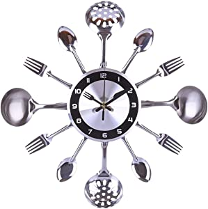 TSP Clock Wall 31-41cm Stainless Steel Kitchen Spoon Fork Clock Silent Wall Clock Living Room Decor Mediterranean Style Home Decoration- Silver (Color : 35cm)