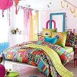 LELVA Bohemian Exotic bedding,Colorful Modern Duvet Cover,Queen King Size Bed Sheet,European Unique Active Print Bed in a Bag,4pcs (Queen)