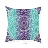 VROSELV Custom Cotton Linen Pillowcase Purple and Turquoise Hippie Ombre Mandala Inner Peace and Meditation with Ornamental Art for Bedroom Living Room Dorm Purple Aqua 12''x12''