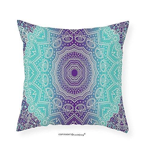 VROSELV Custom Cotton Linen Pillowcase Purple and Turquoise Hippie Ombre Mandala Inner Peace and Meditation with Ornamental Art for Bedroom Living Room Dorm Purple Aqua 12''x12'' by VROSELV