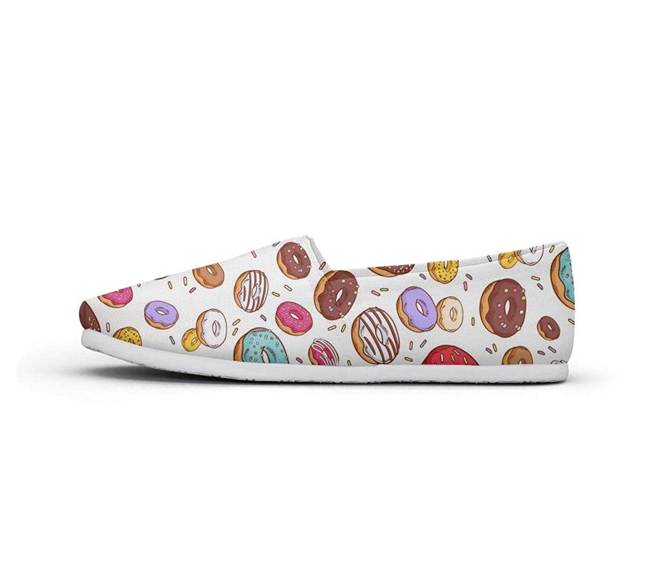 nkfbx Multi-Colored Donuts Casual Slip-On Sneakers for Girls Travel