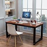 电脑桌台式桌主机笔记本家用经济型书桌写字台简易小孩学习桌书桌餐桌简约现代钢木办公桌子双人桌 (柚木色(黑色桌脚), 长度100x宽度50cm)