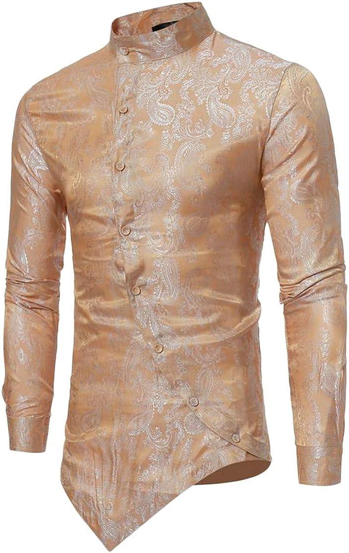 Blyent Men Stand Neck Irregular Jacquard Long Sleeve Casual Button Down Shirts