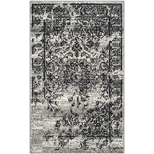 - Safavieh Adirondack Collection ADR101A Silver and Black Oriental Vintage Distressed Area Rug (2'6
