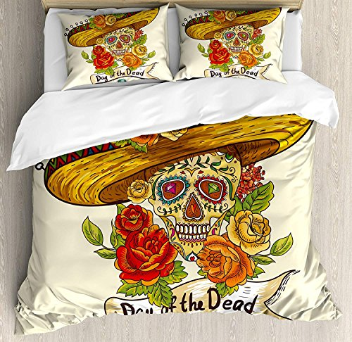BABE MAPS Duvet Cover Set Sugar Skull Decor Skull in Sombrero Traditional Mexican Culture Theme Roses Day of The Dead Ultra Soft Durable Twill Plush 4 Pcs Bedding Sets for Kids/Teens/Adults Twin Size by BABE MAPS