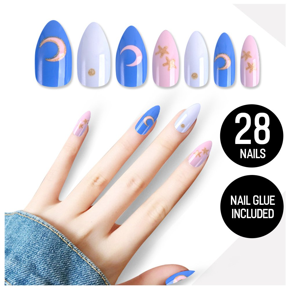 Tip Beauty Pink Gold Fake Nail Kit, Sailor Moon, Faux Nails for Women, Fake Nails for Kids, Glue on Nails, Instant Nails for Ladies, Professional Nail Tips, False Nails with Glue - MSRP 18