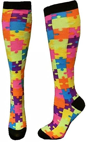 1a3142089f5 Neon Knee High Puzzle Bright color at Amazon Women s Clothing store
