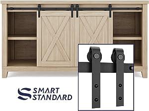 SMARTSTANDARD 5FT Super Mini Double Door Cabinet Sliding Barn Door Hardware Kit -Smoothly and Quietly -for TV Stand, Closet, Window -Fit 15