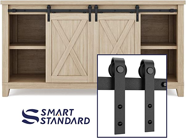 Smoothly and Quietly Simple and Easy to Install J Shape Hangers HomLux 4ft Double Cabinet Door Mini Barn Door Hardware Kits for Cabinet Doors