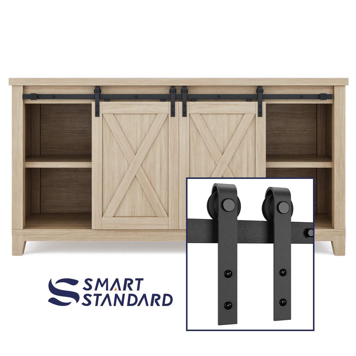 SMARTSTANDARD 5ft Double Cabinet Barn Door Hardware Kit - Super Mini Sliding Door Hardware - for Cabinet TV Stand Console - Simple and Easy to Install - Fit 20'' Wide Door Panel (NO Cabinet) (J Shape)
