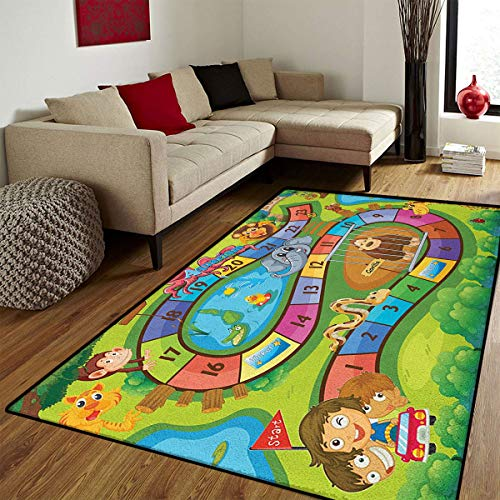 Kids Activity,Bath Mats for Floors,A Day in a Zoo Themed Cartoon Style Children and Exotic Animals Gorilla Lion,Customize Bath Mat with Non Slip Backing,Multicolor,5x6 ft ()