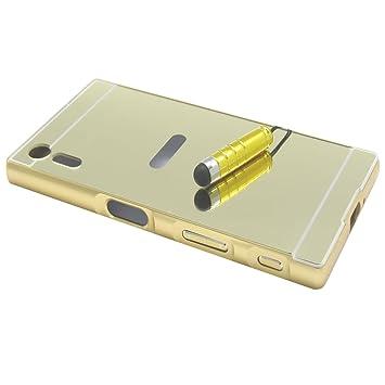 LXHGrowH Funda Espejo Aluminio Metal Carcasa para Sony Xperia XZ Color Oro