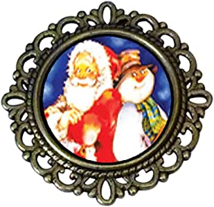 Chicforest Ancient Style Santa And Frosty The Snowman Flower Pin Brooch