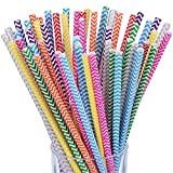 Antner 225PCS Paper Straws Biodegradable Drinking Stripe Straw for Coke Juices Shakes Smoothies and Party Event Decor, 9 Colors
