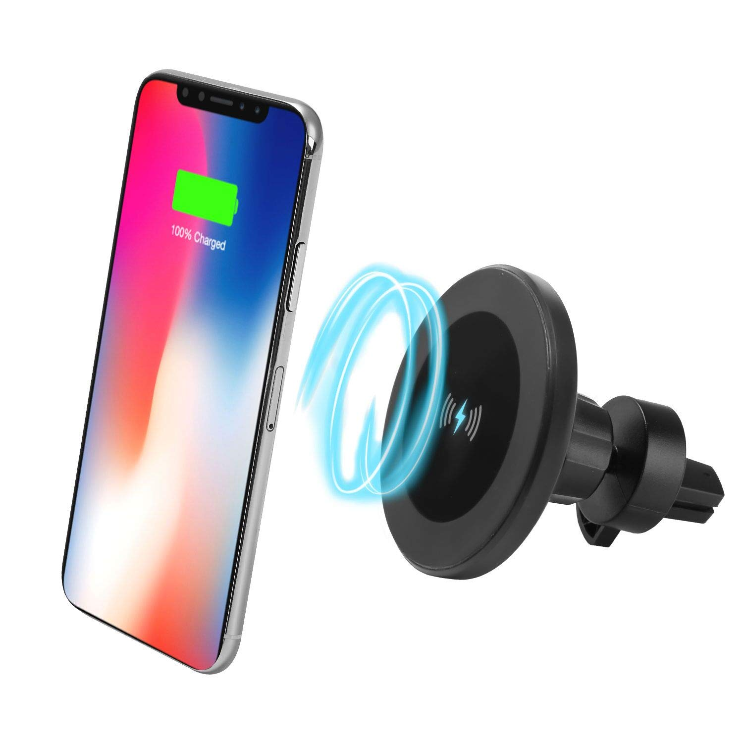 S8 S8 S8 Plus S7 S7 Edge S6 Edge Plus Note 8、Apple iPhone X//8//8 Plus and All QI-Enabled Devices No Car Charger XINLON Magnetic Fast Wireless Car Charger,Wireless Charging for Samsung S9 S9