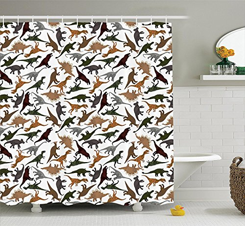 [Jurassic Decor Shower Curtain Set Pattern With Dinosaurs Enormous Museum History Cartoony Illustration Bathroom] (Museum Of Country Life And Costume)