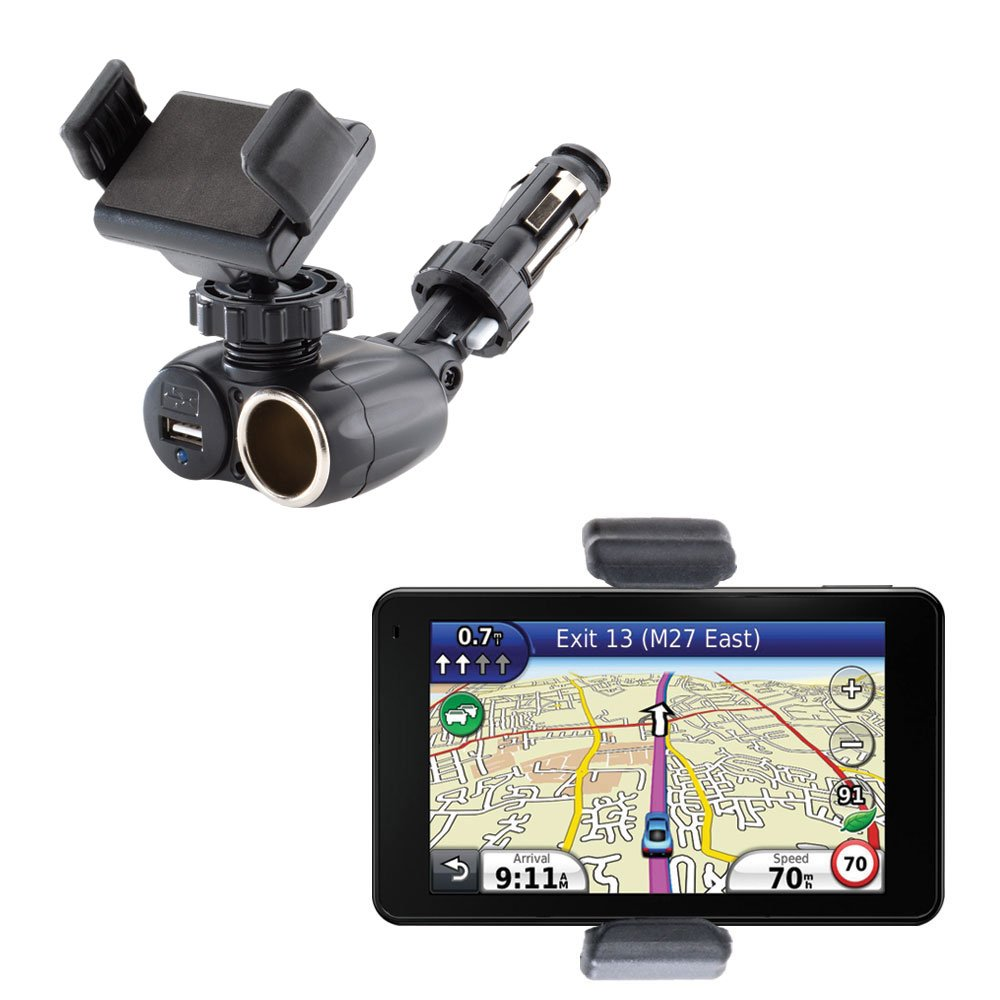 2 in 1 USB Port and 12V Receptacle Ultra Compact Mount Holder for the Garmin Nuvi 3750