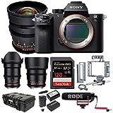 Sony Alpha a7S II Mirrorless Camera w/ Rokinon 3-Lens Kit & 128GB SD Card Bundle