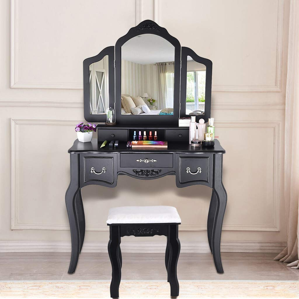 Sonmer Vanity Set with Mirror, Cushioned Stool, Storage Shelves, Drawers Dividers ,3 Style Optional, Shipped from US - Two Day Shipping (#3, Black) by Sonmer (Image #3)