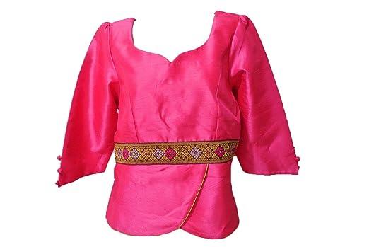 Pink Lao Laos Laotian Silk 3 4 Sleeve Blouse Tops V Neck Size 44 Xl