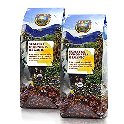 Java Planet - Sumatra Indonesian USDA Organic Coffee Beans, Dark Roasted, Fair Trade, Arabica Gourmet Specialty Grade A