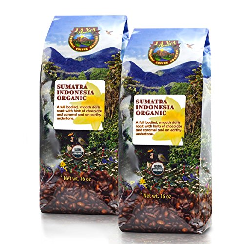 Java Planet - Sumatra Indonesian USDA Organic Coffee Beans, Dark Roasted, Fair Trade, Arabica Gourmet Specialty Grade A - 2 1lb bags