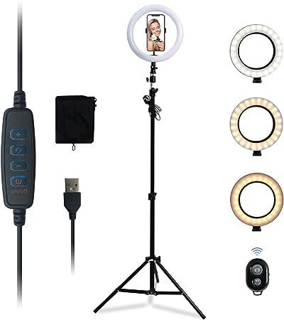 Kemier Anillo de Luz, Luz para Selfie LED con Trípode de 160 cm, Soportes para Teléfono y Selfie Ring Light,Mando Bluetooth para Smartphone 3200 ...