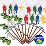 Video Game Birthday Party Favors for 12 - Pickaxe Pencils (12), Camo Dog Tag Chains (12), Paratrooper Toys with Parachutes (12) and Online Game Party Sticker (Total 37 Pieces)