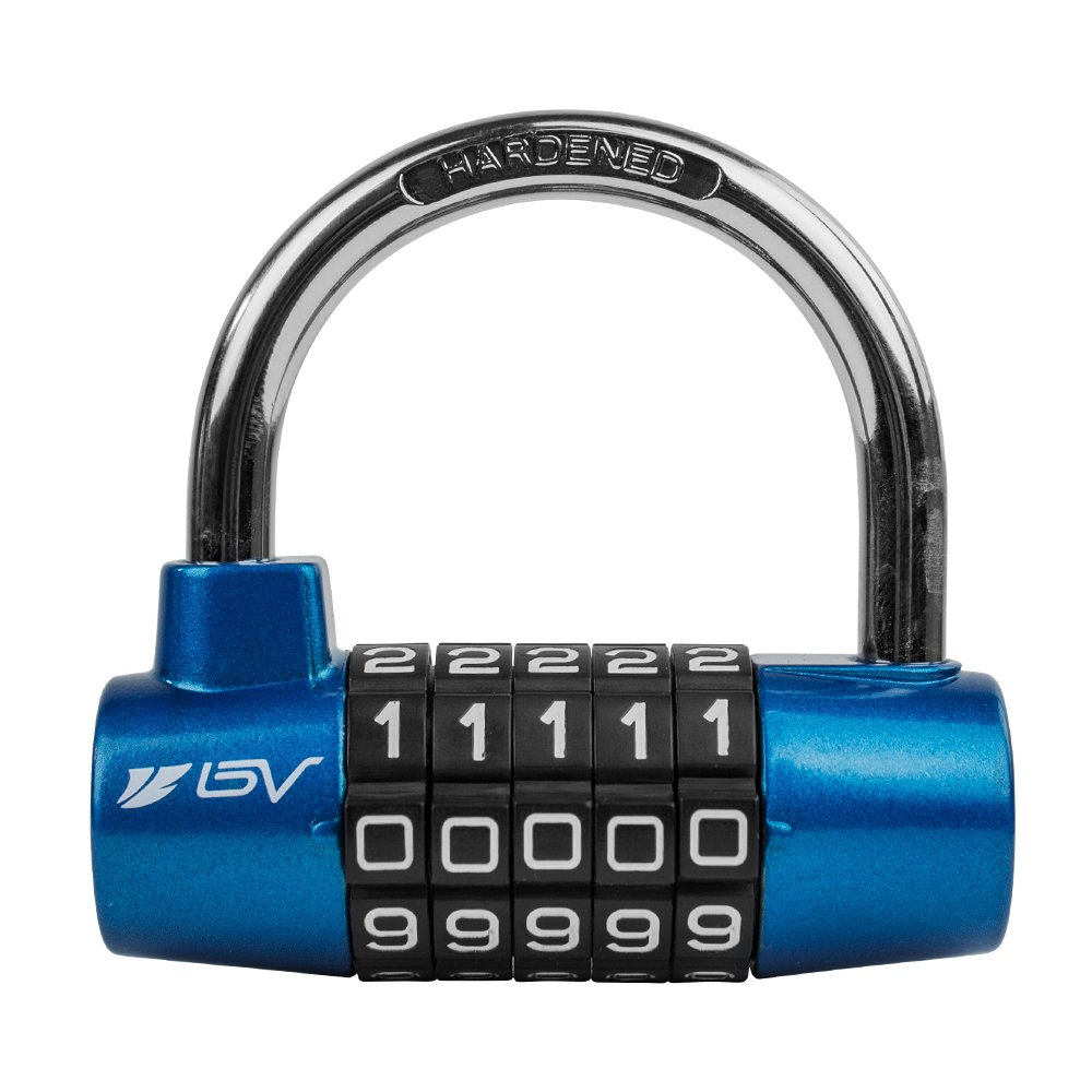 BV 5 Digit Combination Alloy Padlock - Safety Lock for Toolbox, Closet & Gym Locker (Blue)