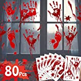 80Pcs Halloween Decoration Window Bloody Handprint Footprint Decals Stickers,Vampire Zombie Fake Bloody Print for Halloween Party Favor Supplies House Indoor Wall Floor Bathtub Office Clings Decals