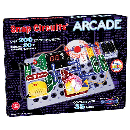 Snap Circuits Arcade Electronics Exploration Kit | Over 200 STEM Projects | 4-Color Project Manual | 20+ Build and Play Games  | 35+ Snap Modules | Unlimited -