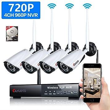 Juego de Vigilancia NVR, canavis Cámara Sistema wireless con 4pcs HD 720P IP CCTV Cámara