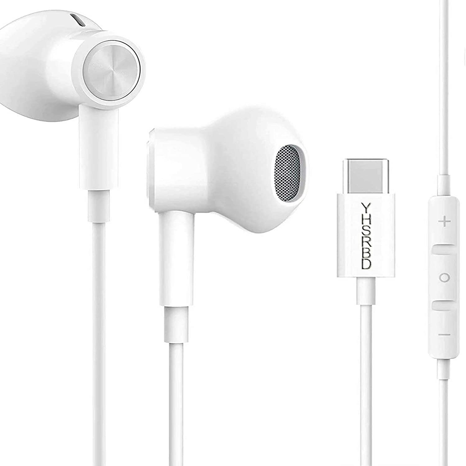 USB C Headphone HiFi Stereo in Ear USB C Earbuds Type C Headphones with Microphone Bass Earbud with Volume Control Compatible with Google Pixel 3XL OnePlus 7 Pro Huawei P30 Pro iPad Pro Sony White