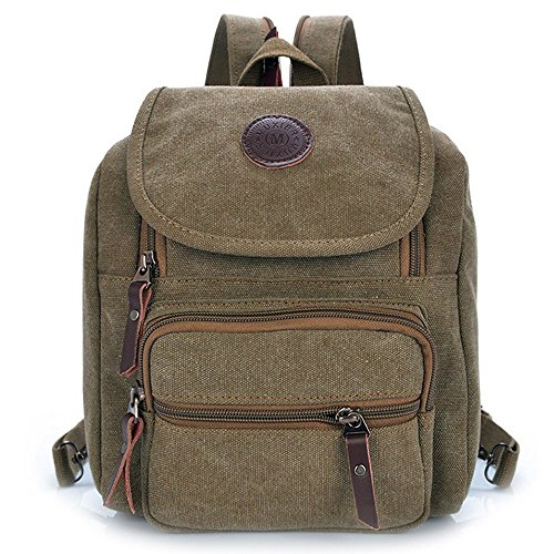 Hiigoo Multi Zipper Pocket Small Cross Body Shoulder Bag Backpack (Khaki)