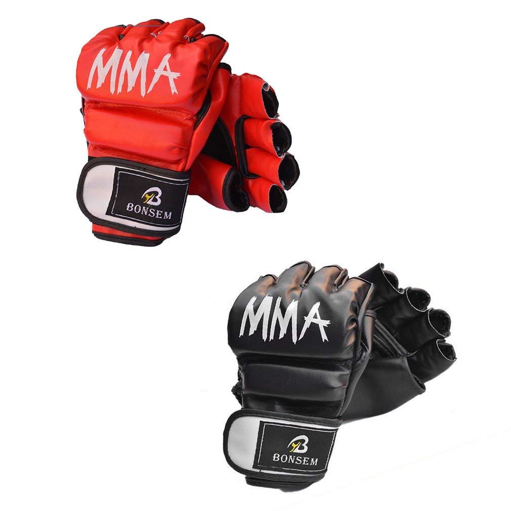 Sunnyday Un par//Set c/ómodo Guantes de Boxeo MMA Dise/ño de Medio Dedo de PU Suave Agarrando Sacos de Boxeo Guantes de Entrenamiento para Adultos