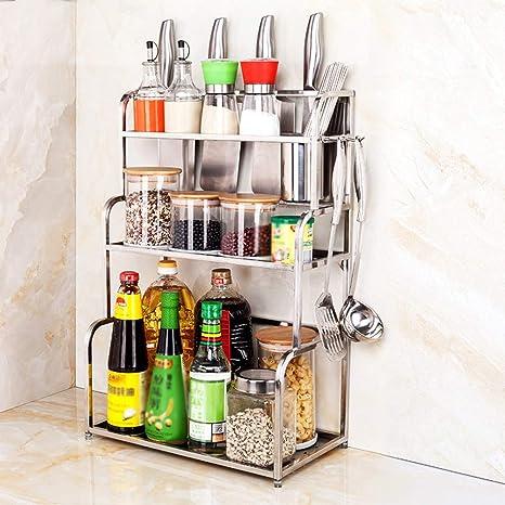 Especiero de cocina de acero inoxidable con 2 niveles para ...