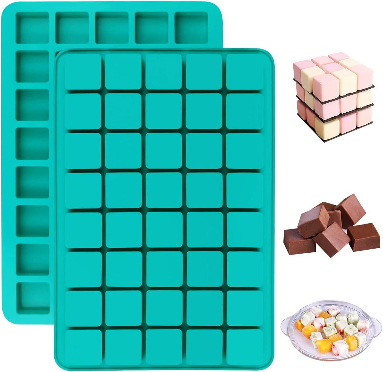 Mity rain 2 Pack 40-Cavity Square Caramel Candy Silicone Molds,Chocolate Truffles Mold,Whiskey Ice Cube Tray,Grid Fondant Mould,Hard Candy Mold Pralines Gummy Jelly Mold