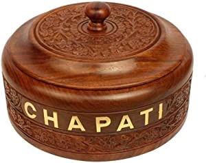 WILLART Hot Pot Casserole Dish with Lid, Tortilla Bread Chapati Keeper/Warmer Engraved Design for Kitchen Home Décor Ideal for Gift on Diwali, IED and Christmas (Dimension : 9 Inch X 9 Inch X 3.5 Inch)