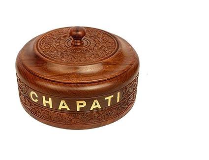 WILLART Brown Handicraft Wooden Stainless Steel Chapati Casserole (9 x 9 x 3.5 Inch)