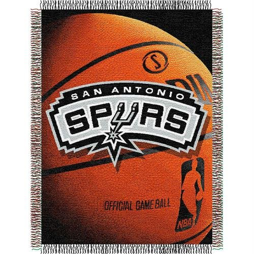 (Officially Licensed NBA San Antonio Spurs Photo Real Woven Tapestry Throw Blanket, 48