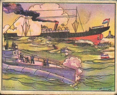 - 1938 Gum Inc Horrors of War (Non-Sports) Card# 92 Pirate sum torpedoes Dutch freighter VG Condition