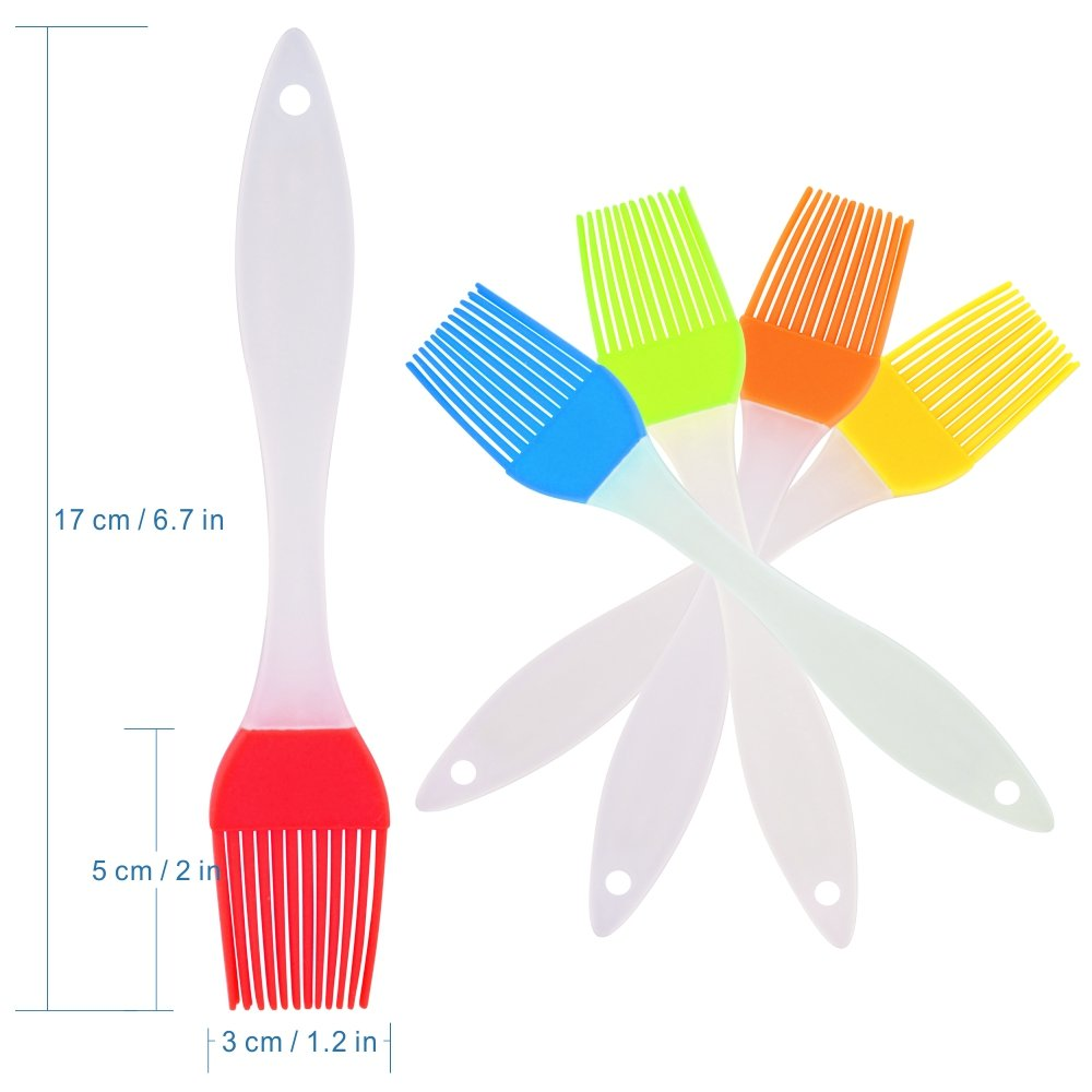 TYHY Silicone Basting Brush/Silicone Pastry Brushes Oil Basting Brush and Basters with Solid Core, Set of 5