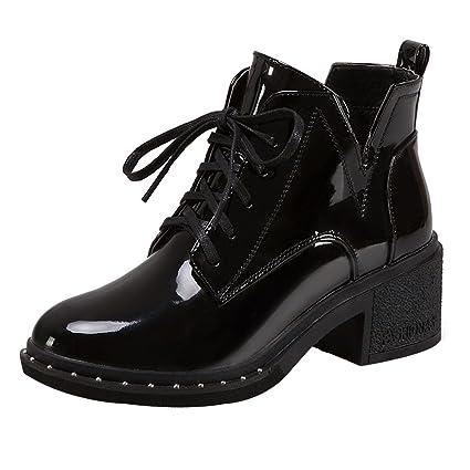 ZARLLE_Botas De Mujer Cuero Impermeables Botines Invierno Botas Planas con Cordones De Punta Redonda Zapatos Nieve